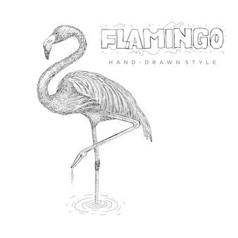 플라밍고가 한쪽 다리를 사용하여 물 위에 서 있습니다. 손으로 그린 동물 그림