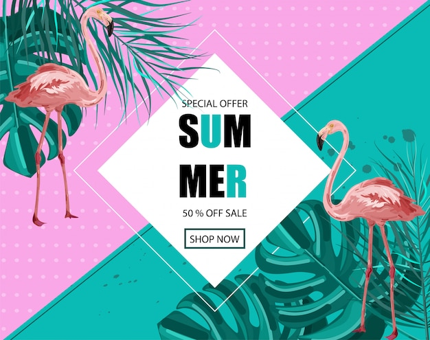 Flamingo summer banner