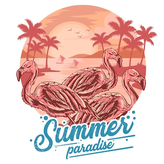 Flamingo summer beach and coconut tree view sunset vector for element and t-shirt artwork
