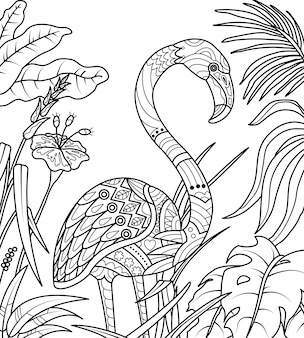 Flamingo in summer time coloring book