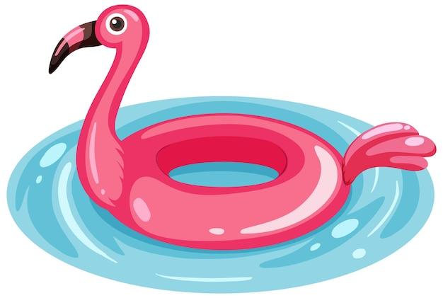 Anello di nuoto del fenicottero nell'acqua isolata