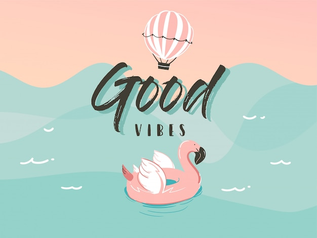 Flamingo swimming rubber float ring in ocean waves landscape and good vibes typography quote isolated on blue background