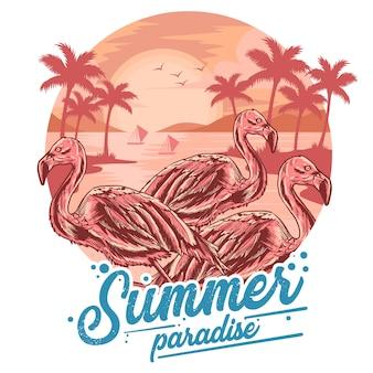 Flamingoサマービーチとココナッツツリービュー要素とtシャツアートワークのための日没ベクトル