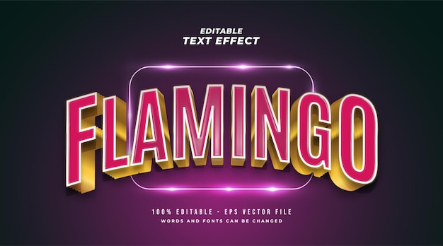 Flamingo text in pink and gold with 3d embossed and curved effect. editable text style effect