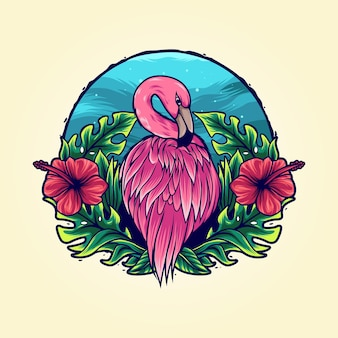 Flamingo in tropical flower illustration