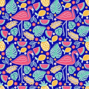 Flamingo tropical fruit pineapple lemon watermelon with monstera and foliage flower seamless pattern