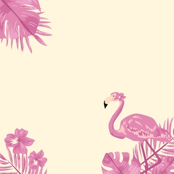 Flamingo and tropical leaf background.