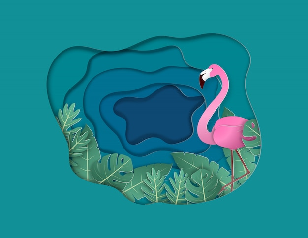 Flamingo and tropical leafs with background paper cut style.