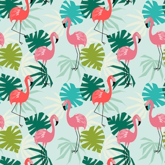 Flamingo and tropical leaves seamless pattern.