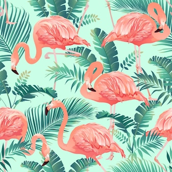 Flamingo and tropical palm background seamless pattern vector.