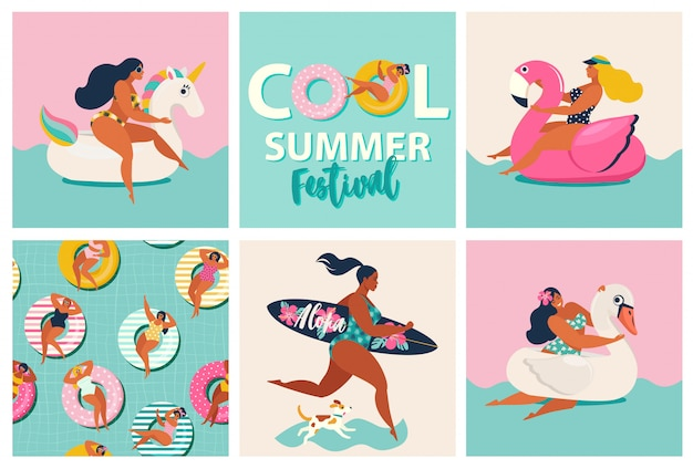 Фламинго, единорог и лебедь надувной бассейн плавает.