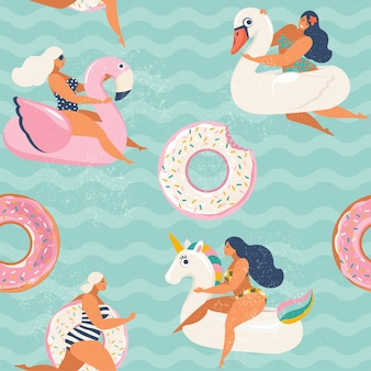 Flamingo, unicorn, swan and sweet donut inflatable swimming pool floats.
