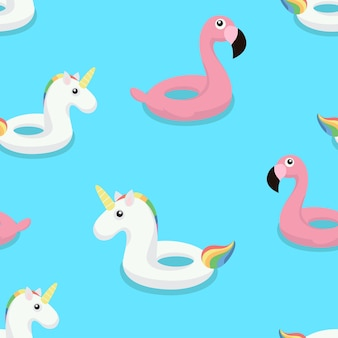 Flamingo and unicorn swim ring seamless pattern.