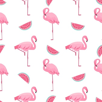 Flamingo and watermelon. summer tropical seamless pattern. used for design surfaces, fabrics, textiles, packaging paper, wallpaper.