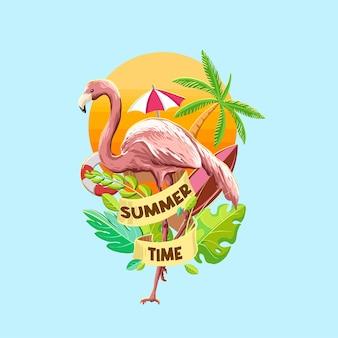 夏のフラットな要素を持つフラミンゴ