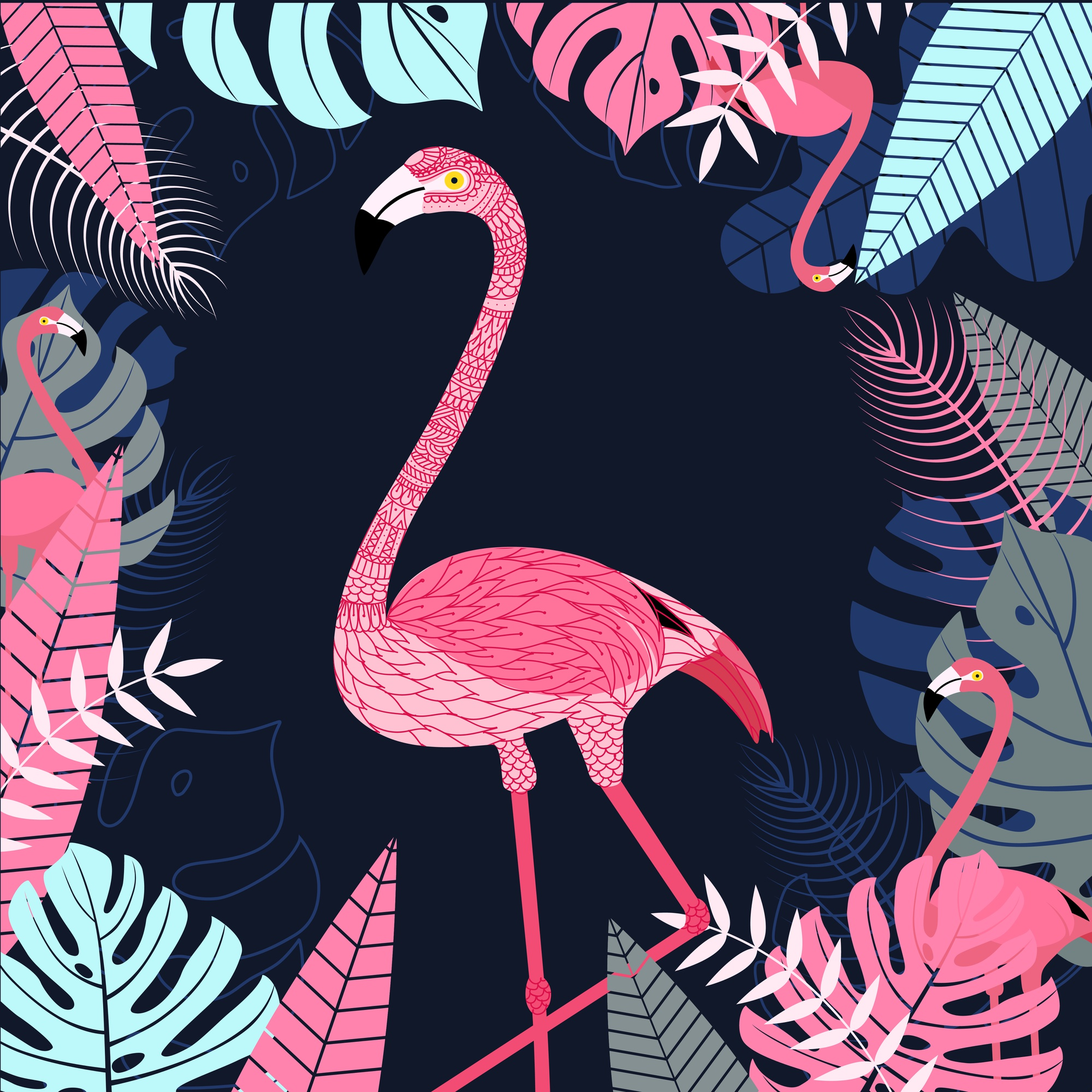 Flamingo with leaf and tropical background.