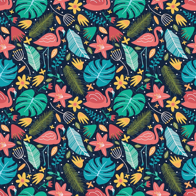 Flamingo with monstera blooming flowers nature seamless pattern