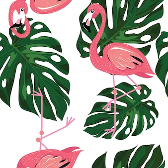 Flamingo with monstera leaves  pattern of summer