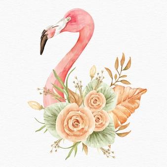 Фламинго с тропическими цветами и листьями акварель