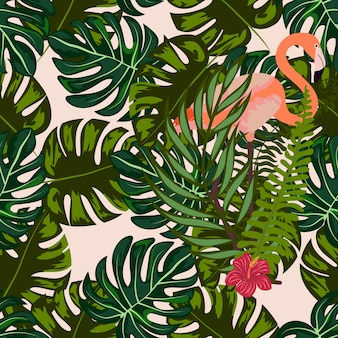 Flamingo with tropical flowers and leaves seamless pattern.
