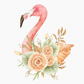 Flamingo with tropical flowers and leaves watercolor