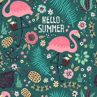 Flamingo with tropical fruits, plants and flowers pattern