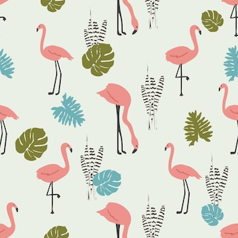 Flamingo with tropical leaf seamless pattern grey