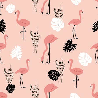 Flamingo with tropical leaf seamless pattern pink