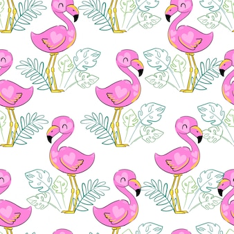 Flamingo with tropical leaves  pattern