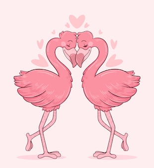 Flamingoes couple in love with their heads touching