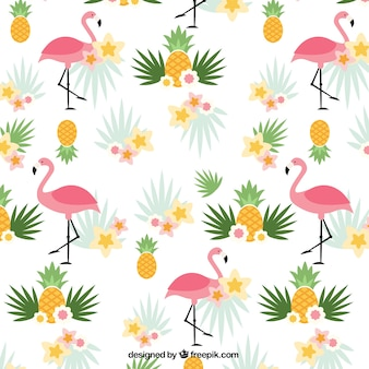 Flamingos and pineapples pattern