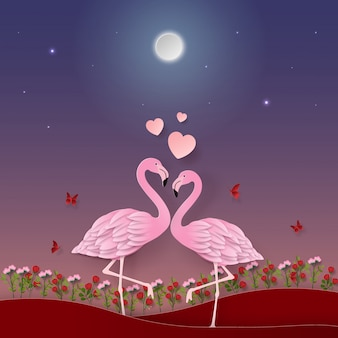 Flamingos in the garden