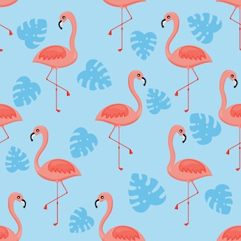Flamingos and palm leaf seamless pattern