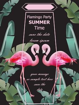 Летняя карта фламинго Premium векторы