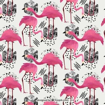 수채화 스타일의 플라밍고 패턴