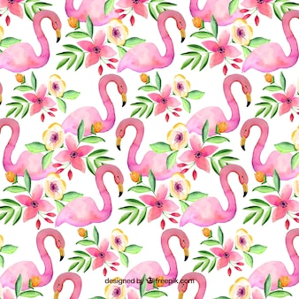 Flamingos pattern in watercolor style