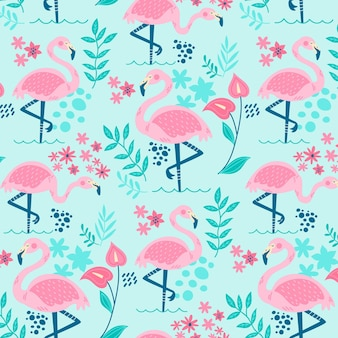 Flamingos pattern with beautiful tropical leaves