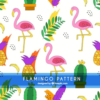 Flamingos pattern with cactus and pineapples
