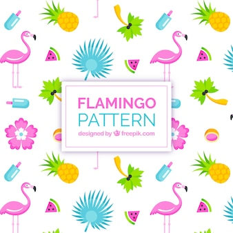 Flamingos pattern with fruits in 2d style