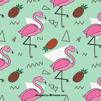 파인애플과 플라밍고 패턴 손으로 그린 스타일