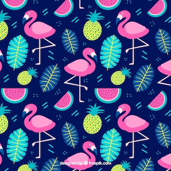 Flamingos pattern with plants and fruits in hand drawn style