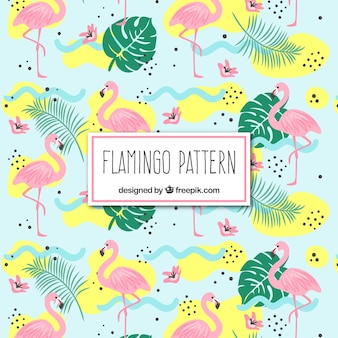 Flamingos pattern with plants in hand drawn style