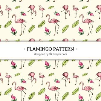 손에 식물을 가진 플라밍고 패턴 그린 스타일