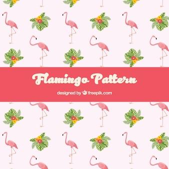 手描きのスタイルで植物とフラミンゴのパターン