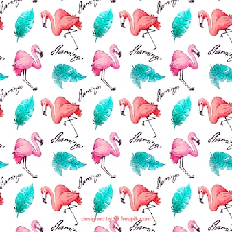 Flamingos pattern with plants in watercolor style