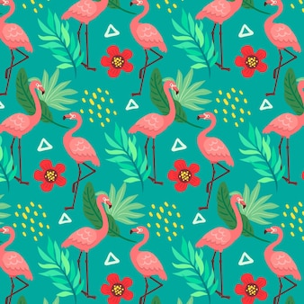 Flamingos pattern with tropical leaves and flowers