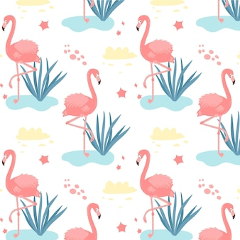 Flamingos pattern with tropical leaves on water