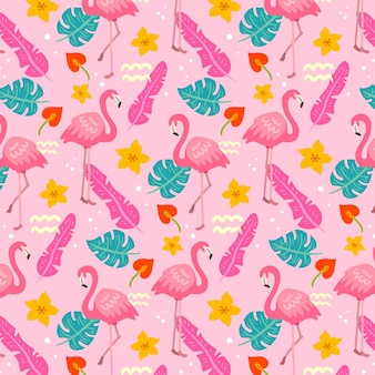 Flamingos pattern with tropical leaves