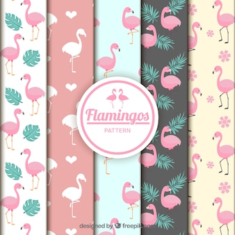 Flamingos patterns collection in flat style