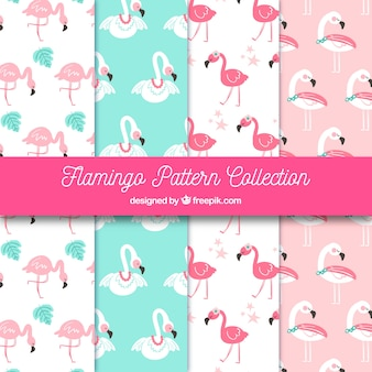 Flamingos patterns collection in hand drawn style